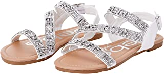 bebe Girls' Sandals - Strappy Rhinestone Studded Leatherette Sandals (Little Girl/Big Girl)