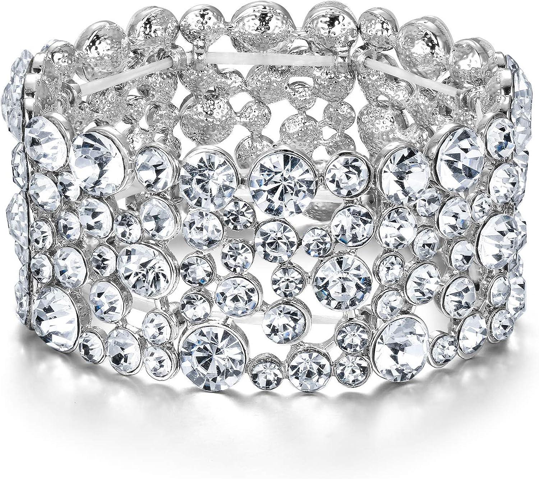 EVER FAITH Women's Rhinestone Crystal Wedding Bridal Art Deco Stunning Stretch Bracelet