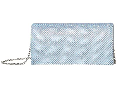 Jessica McClintock Luisa Flap Clutch (Iridescent Aqua) Handbags