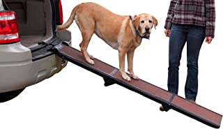 Pet Gear Full Length Ramp, Patented Compact Easy-Fold Design, Lightweight/Portable, Safety Tether Included, Rubber Grippers for Stability