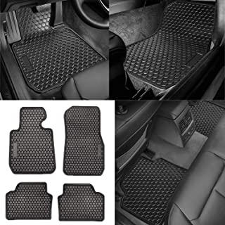 Front and Rear All-Weather Floor Mat Rubber Vehicle Carpet Custom Fits BMW 3 Series 2014-2017 - Odorless