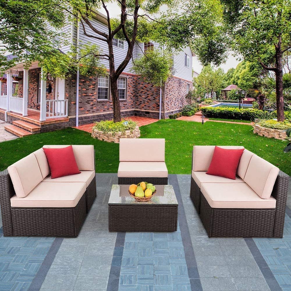 Devoko Max 87% OFF Patio Furniture Sets 6 Outdoor So Sectional Gorgeous Pieces Rattan