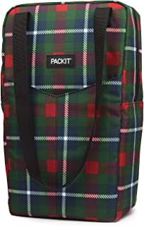 PackIt Freezable Double Wine Bag, Holiday Flannel