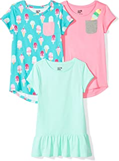 Spotted Zebra Girls' 3-Pack Short-Sleeve Tunic Tops