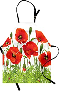Lunarable Ladybugs Apron, Horizontal Border with Red Poppy Flower Bud Poppies Chamomile Wildflowers Lawn, Unisex Kitchen Bib with Adjustable Neck for Cooking Gardening, Adult Size, Green Red