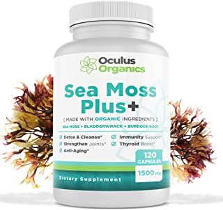 Oculus Organics Sea Moss Plus+ (120 Capsules/1500mg Serving) | Sea Moss Organic | Irish Sea Moss Organic Raw | Seamoss Raw Organic | Sea Moss Capsules | Sea Moss and Bladderwrack Capsules