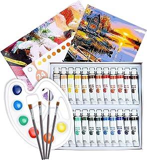 ATMOKO Set de Peinture Acrylique 29 PCS,Tubes de Peinture de 24 Couleurs pourToile,Bois, Céramique,Tissu,3 Pinceaux,1Palet...