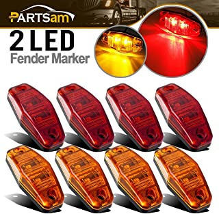 Partsam Universal Red/Amber Surface Mount LED Side Fender Marker Lights, Sealed Mini LED Side Marker Clearance Identification Lights, 2 Wire, 2 Diodes, 2.54