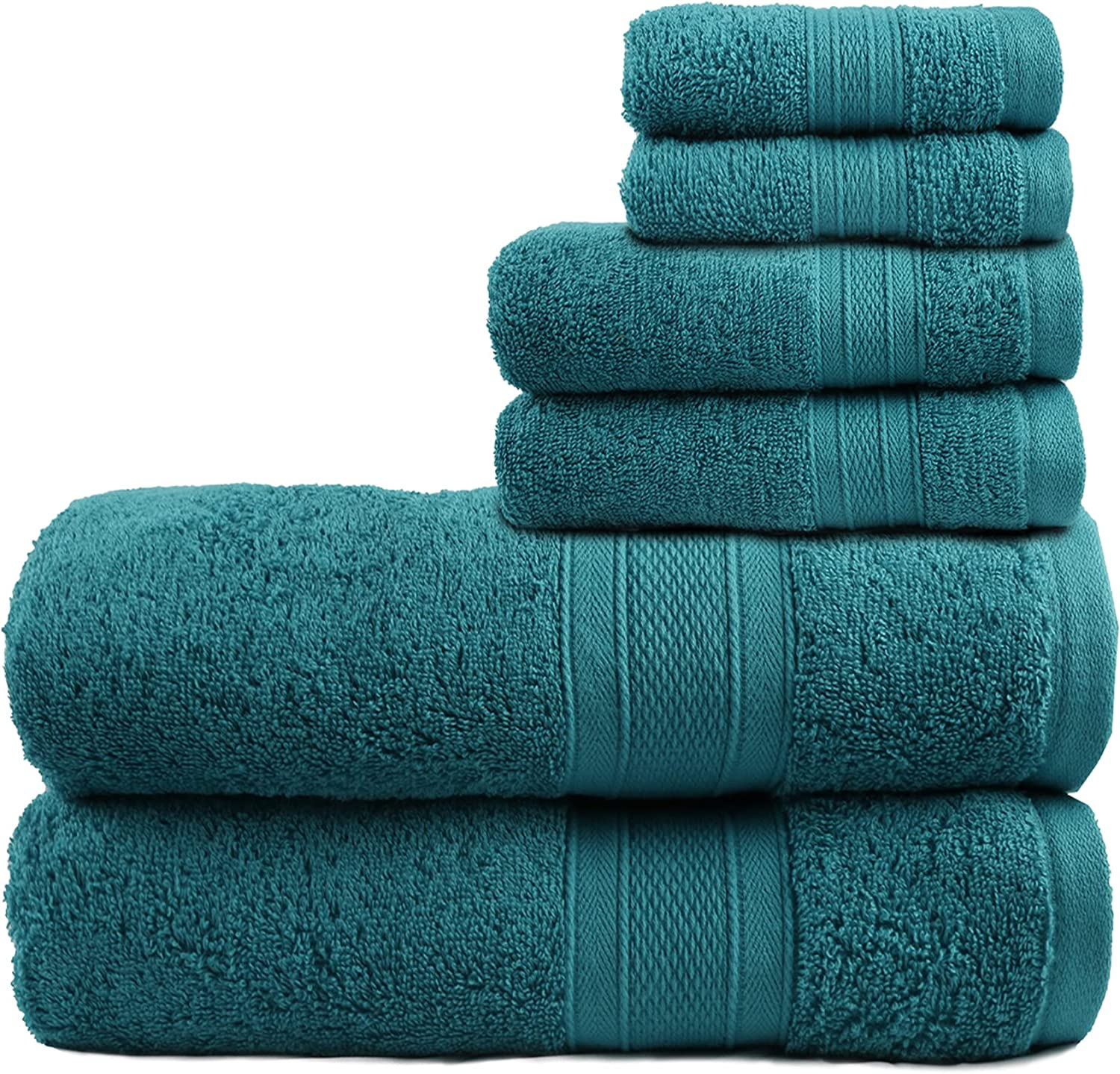 TRIDENT Feather Touch, Ultra Soft, Super Absorbent 100% Cotton 6 Piece Towel Set -2 Bath, 2 Hand, 2 Washcloths Easy Care (Teal, 6 Piece Set)