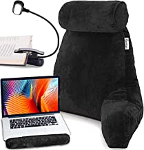 Premium Reading Bed Rest Pillow with Reading Light and Wrist Support, Has Arm Rests, Neck Roll, and Back Support for Readi...