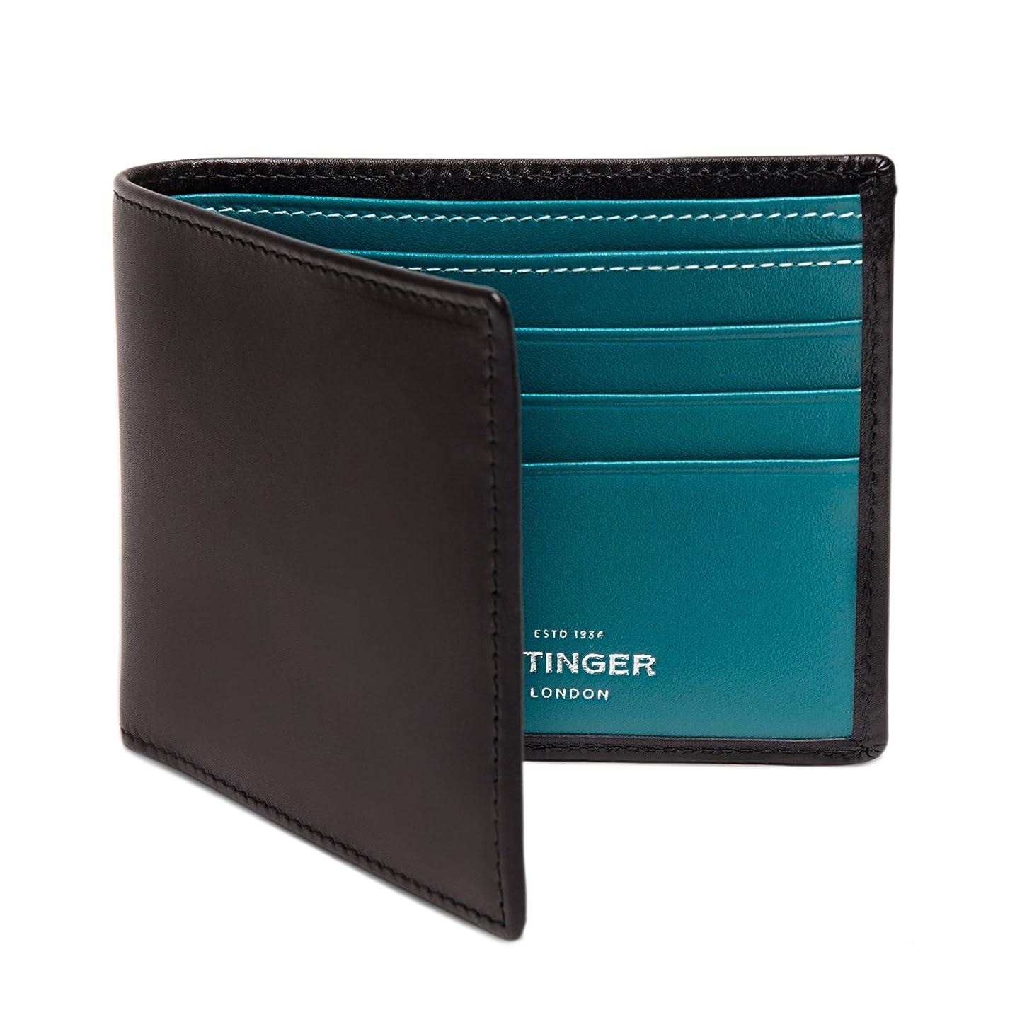 震え夢中神ETTINGER / エッティンガー レザー?ビルフォールド ウォレット 二つ折り財布 - ブラック/ターコイズ(内側)