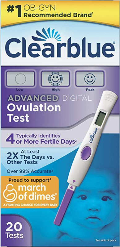 Clearblue Advanced Digital Ovulation Predictor KIT Featuring Advanced Ovulation Tests With Digital Results 20 Ovulation Tests Packaging May Vary