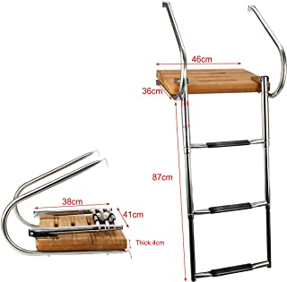 Amarine-made Boat In-board Swim Teak Platform with 3-steps Stainless Ladder