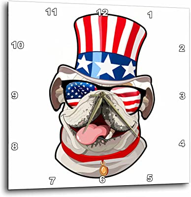 American Bulldog Wearing top hat with American Flag on it T-Shirts 3dRose Patriotic American Dogs