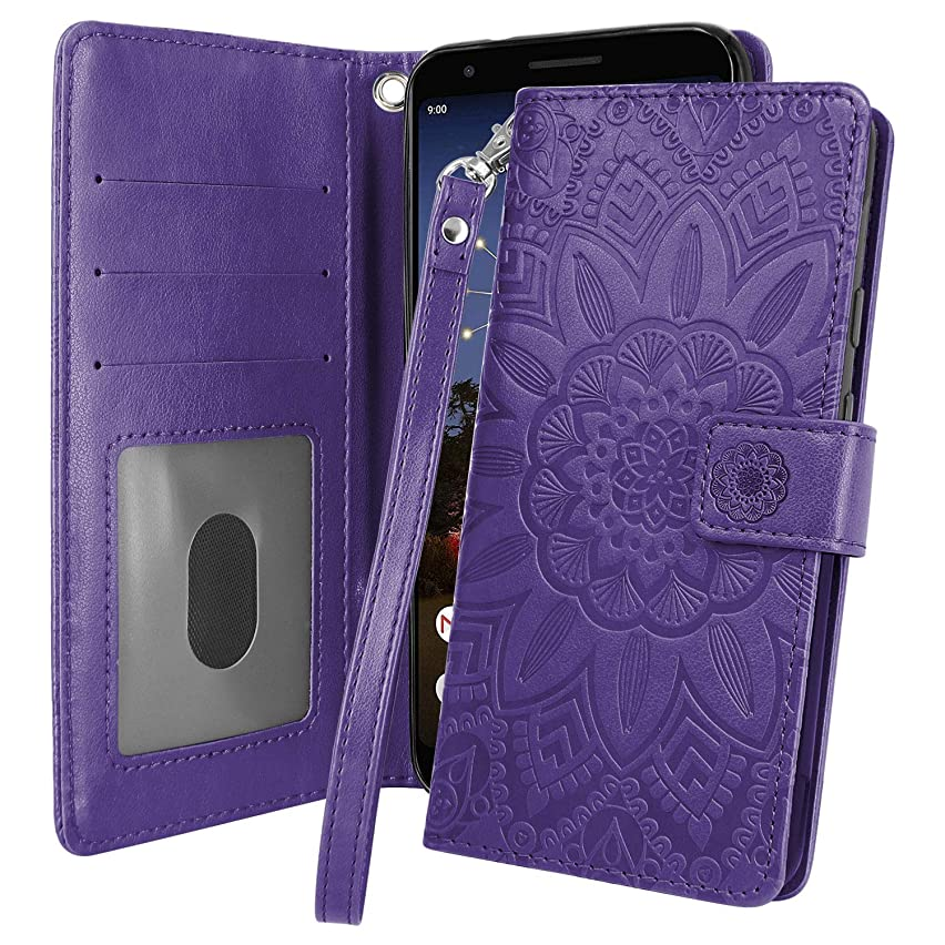 Pixel 3a Case, Harryshell Kickstand Flip PU Leather Protective Wallet Case Cover with Card Slots Wrist Strap for Google Pixel 3a (2019) (Purple)