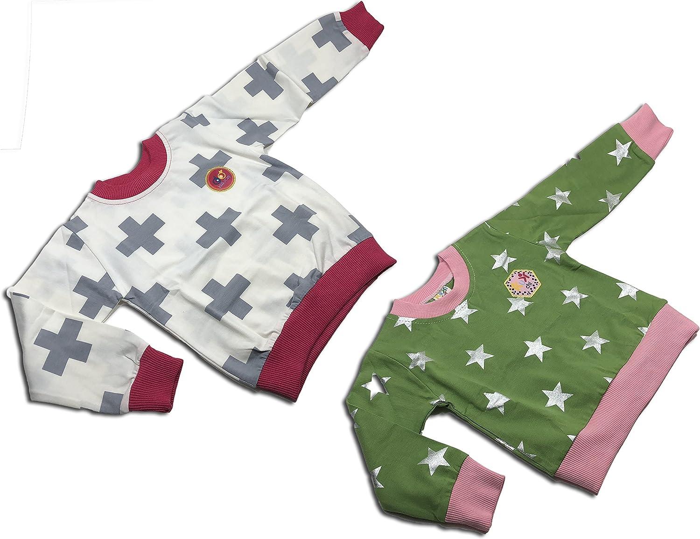 Unisex Toddler Baby 2 Sets of Sweatshirt (3Y, Green-Pink)