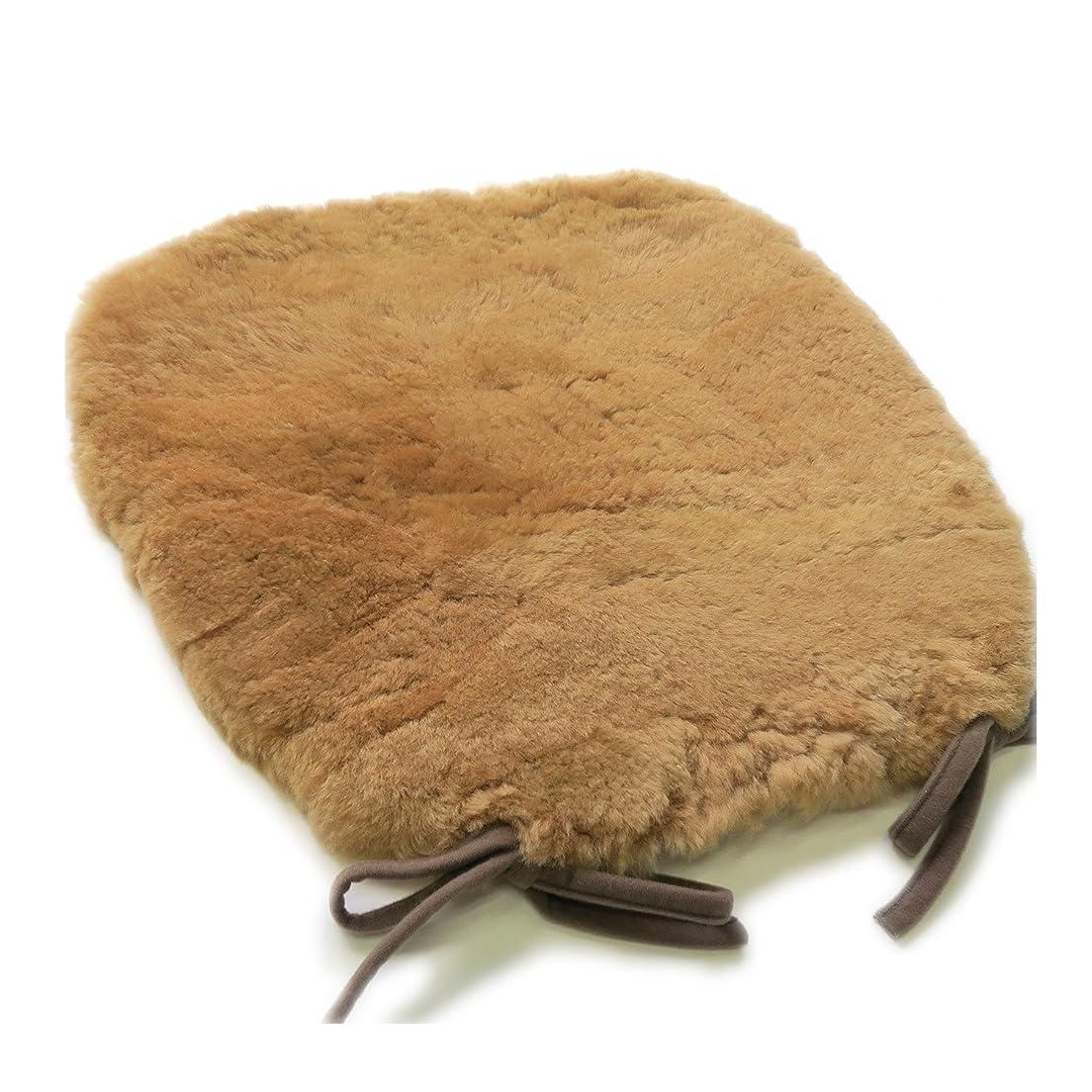 遠洋の取り戻す冗談でオーストラリア産 原皮を使用 ムートンクッション 約40×43cm 馬蹄型 大判サイズ 毛足25mm 高密度 ウレタン入り あったか ひも付き シートクッション ブラウン