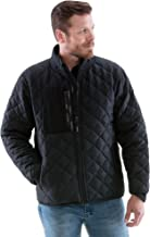 RefrigiWear Men's Diamond Quilted Insulated Jacket with Fleece Lined Collar