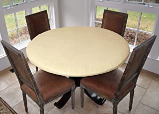 "LAMINET Elastic Fitted Table Cover - Basketweave (Beige) - Large Round - Fits Tables up to 45-56"" Diameter"