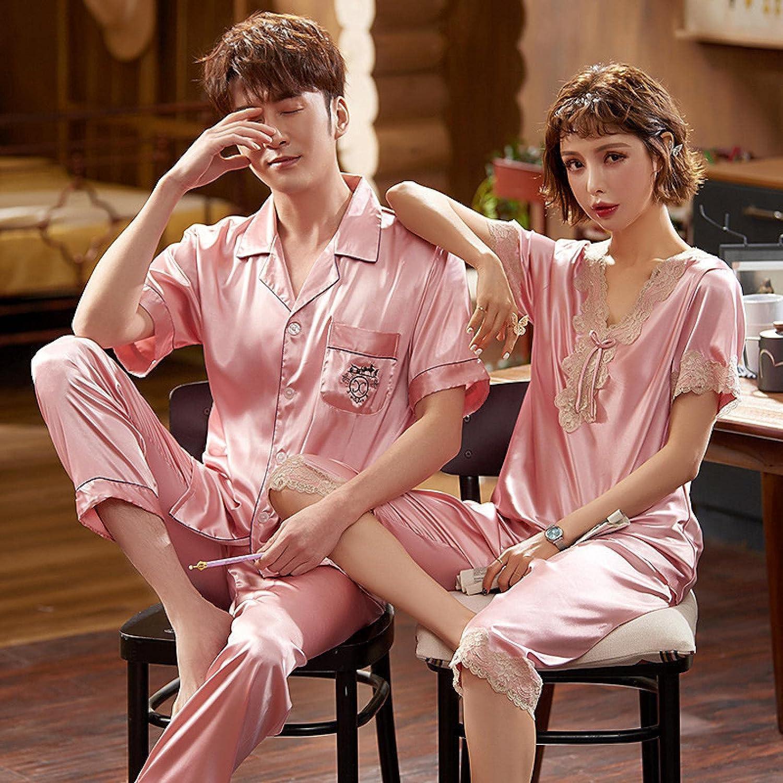 STJDM Nightgown,Silk Satin Pajamas Couple Set Summer Short Sleeve Button-Down Sleepwear Loungewear Plus Size Men-XL pinkset