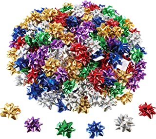 Tatuo 240 Pieces Mini Gift Wrap Bows Christmas Metallic Bows Self Adhesive Gifts Bows for Holiday Christmas Birthday Party Favor (Multi-Color)