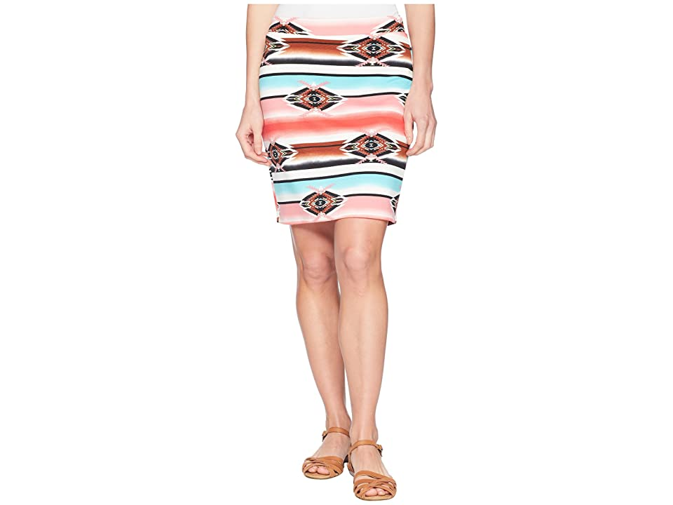Wrangler Ponte Pencil Aztec Skirt (Rouge/Jade) Women