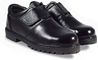 RIGAU Women's Genuine Black Leather Steel Toe Safety Shoes (6, Black)