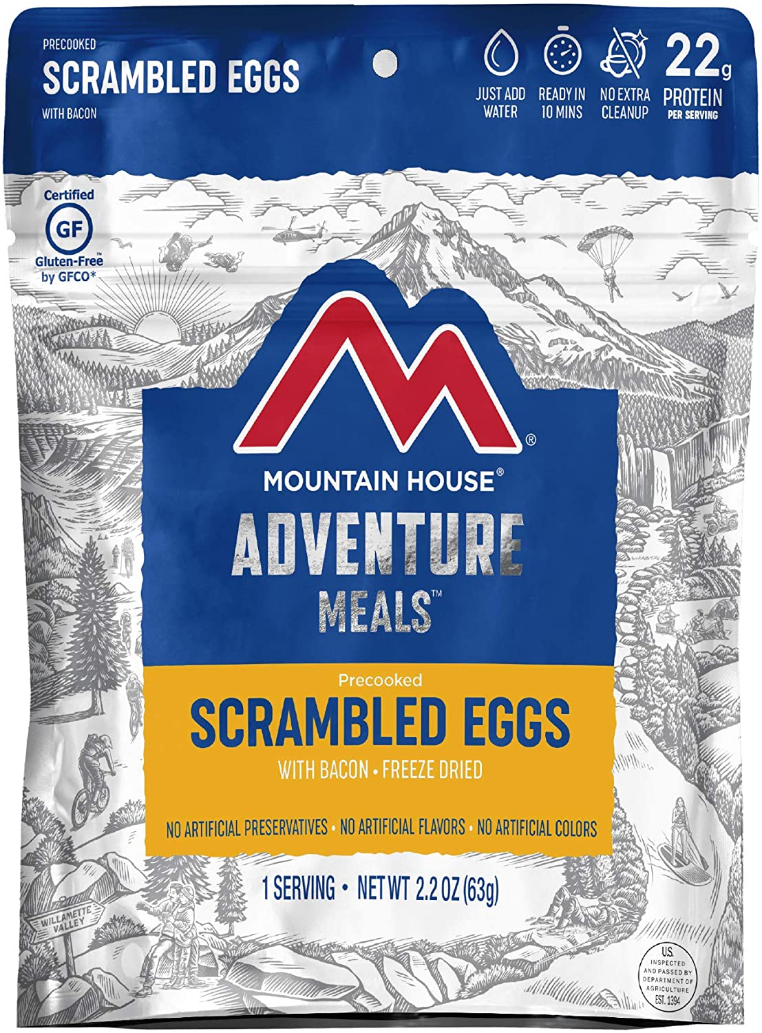 Mountain House Scrambled Eggs with Bacon   Freeze Dried Backpacking & Camping Food   Survival & Emergency Food   Gluten-Free