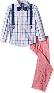 Izod Boys' 4-Piece Suspender Set with Dress Shirt, Bow Tie, Pants, and Suspenders