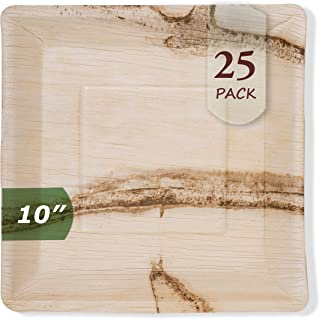 Palm Leaf Disposable Plates, Biodegradable & Compostable - Organic Sustainable BPA-Free Dinnerware | Plastic, Bamboo & Wood Alternative for BBQs, Parties, Weddings & Events (25 Pack)… (10 inch)
