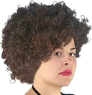Brown Afro Wig Bob Ross Wig, Kaepernick Wig, Curly Brown Afro Costume Wig for Men, Women, Kids