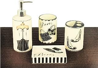Better Home Ceramic Bath Ensemble, 4-Piece Bathroom Accessory Set - Luxury Design Selection - Soap Dish, Lotion Dispenser, Toothbrush Holder, Tumbler, (Paris)