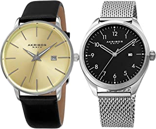 Akribos XXIV Men's 2 Watch Set - Clear and Classic Watches, I Mesh Bracelet with Arabic Numerals, 1 with Genuine Leather Band Both with Date Window - AK1062
