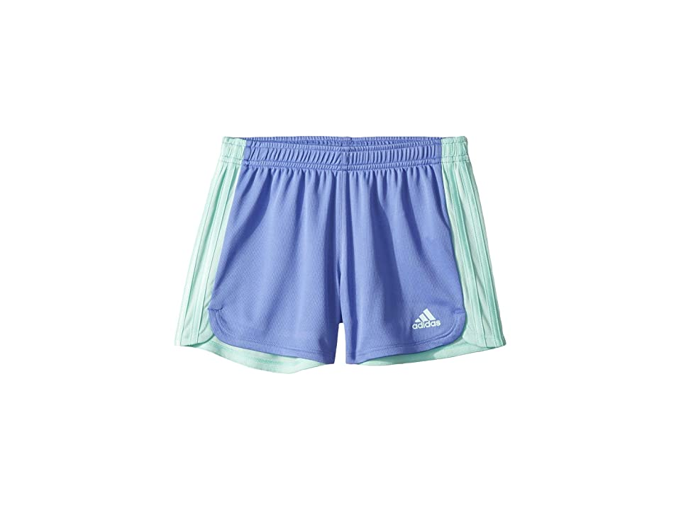 Image of adidas Kids 3 Stripe Blocked Shorts (Big Kids) (Blue Lilac) Girl's Shorts