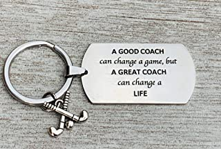 Sportybella Field Hockey Coach Keychain, Field Hockey Coach Gifts, A Good Coach Can Change a Game But a Great Coach Can Change a Life Keychain for Men and Women