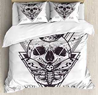 Ambesonne Death Moth Duvet Cover Set, Geometry Skull Dead Head Alchemy Hipster Tattoo Style Art, Decorative 3 Piece Bedding Set with 2 Pillow Shams, Queen Size, Dark Blue Grey and White