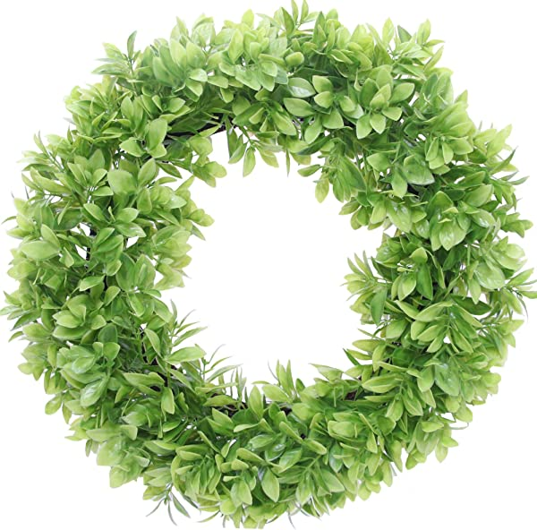 Aonewoe Artificial Boxwood Wreath 20 Eucalyptus Green Wreath For Front Door Window Home Decoration Indoor Outdoor Waterproof UV Resistant Wreath 20