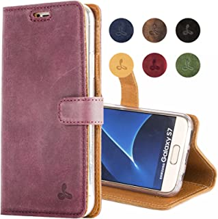Snakehive Galaxy S7 Case, Vintage Collection Samsung Galaxy S7 Wallet Case in Nubuck Leather with Credit Card/Note Slot for Samsung Galaxy S7 (Plum)