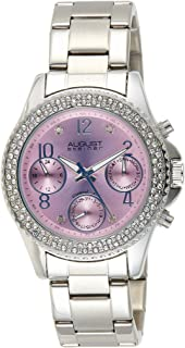 August Steiner Women's Multifunction Crystal Bezel Fashion Watch - Lavender Sunburst Diamond Dial with Day of Week, Date, and 24 Hour Subdial on Silver Stainless Steel Bracelet - AS8136