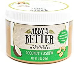 Coconut Cashew Nut Butter, 12 Ounce Jar- An All Natural, 4 Ingredient, Gluten-Free, Peanut Free, Protein Rich, Vegan Friendly Spread or Snack