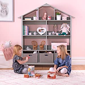 MARTHA STEWART Living and Learning Kids' Dollhouse Bookcase - Gray: Wooden Storage Organizer for Books, Dolls, Toys – Bookshelf for Bedroom or Playroom