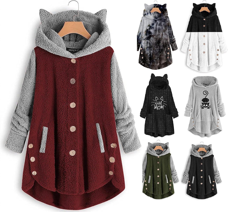 Women's Cute Cat Ear Fleece Sweater Hoodies Teen Girls Button Plush Coats Oversize Pullover Winter Warm Jacket Hooded