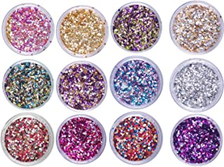 Laza 12 Colors 1.27oz /36g Nail Art Glitter Powder Acrylic Nails Mixed Chunky Sequins Iridescent Flakes Ultra-thin Paillette Sparkles Tips for Cosmetic Face Eyes Body Hair - Gem star sand