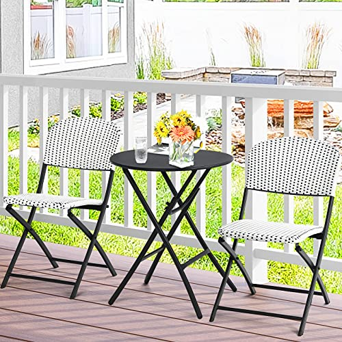 2021 Giantex 3 Pieces Patio Dining 2021 Set, Folding Bistro Table with 2 Rattan Chairs, Metal Frame Indoor Outdoor Furniture Set for Garden Balcony Porch Yard Lawn Poolside (White & lowest Black) sale
