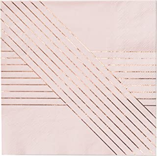 Pale Pink w Rose Gold Striped Lunch Paper Napkins - Birthday, Wedding, Showers Party Napkins - Harlow & Grey Amethyst (20 Count)