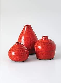 Sullivans Small Ceramic Vase Set, Various Sizes, Red-Orange, Set of 3 (CM2038)