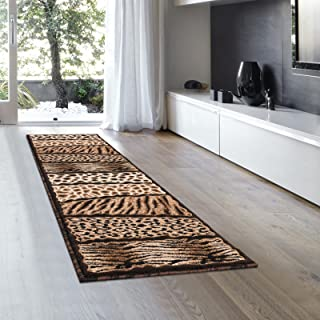 Allstar 2x7 Black Cabin and Lodge Runner with Ivory, Mocha and Espresso Wildlife Skin Pattern Patchwork Design (1' 11