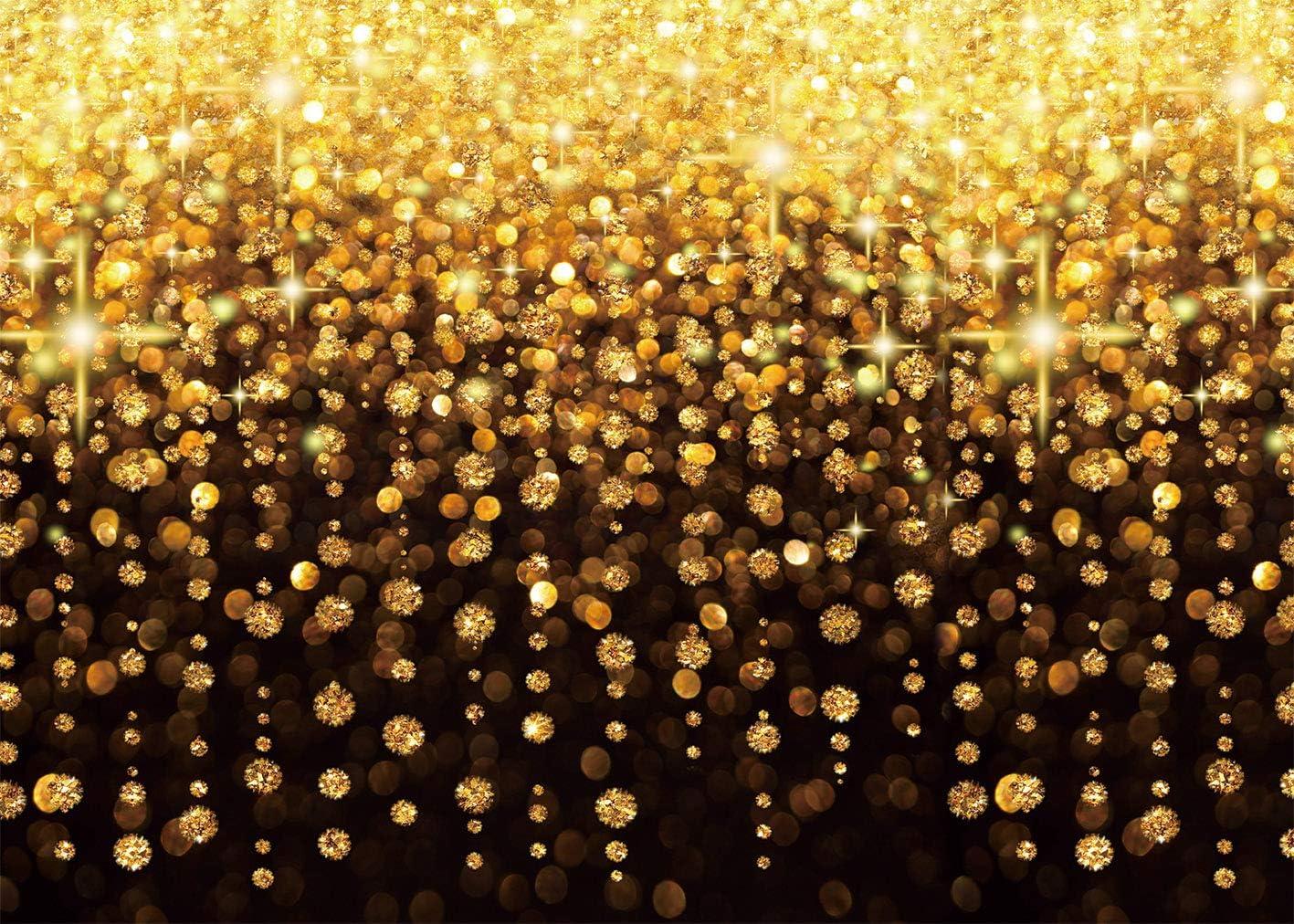 210cmx150cm 7x5FT DANIU Golden Bokeh Glitter Sequin Spots Photography Backdrop Selfie Portrait brown Background 7x5ft Birthday Wedding Baby Shower Party Banner Decor Photo Booth Props