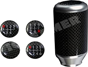 ICBEAMER Styles Silver Aluminum with Real Carbon Fiber Manual Gear Stick Mini Shift Knob 5 6 Speeds Pattern
