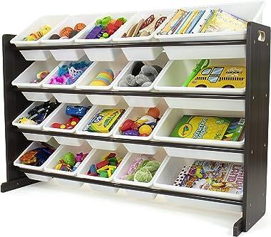 Humble Crew Toy Storage 20-Bin Organizer, Espresso/White (WO807)